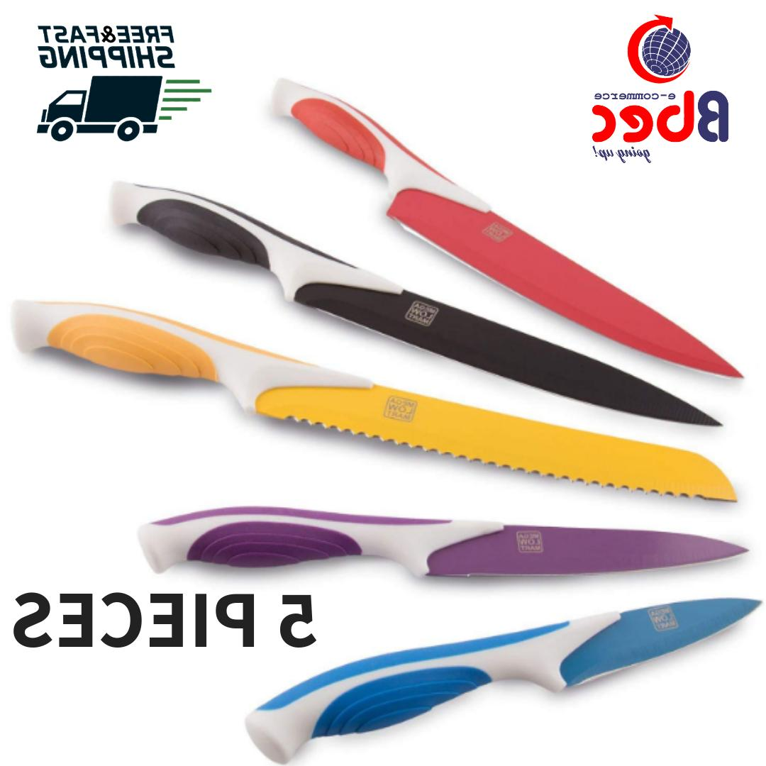 Colored Knife Set Stainless Steel Ceramic 5 Pcs Cutlery Kitc