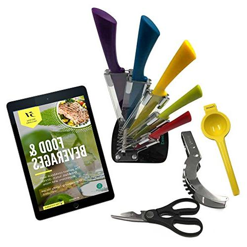 colorful knife set includes utility