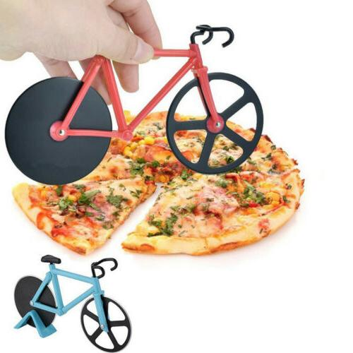 creative bicycle pizza cutter stainless steel wheel