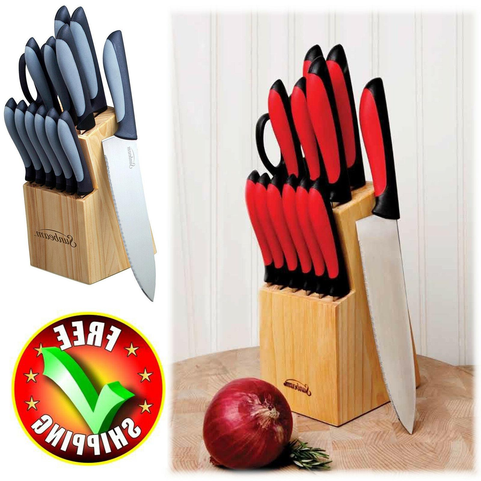Cutlery Knife Block Set 14-Piece Wood Stainless Steel Chef K