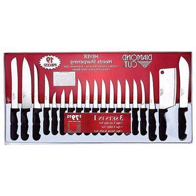 cutlery set diamond cut 19pc knife kitchen