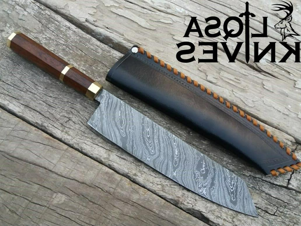 DAMASCUS CHEF'S KNIVES KNIFE HANDMADE LEATHER SHEATH