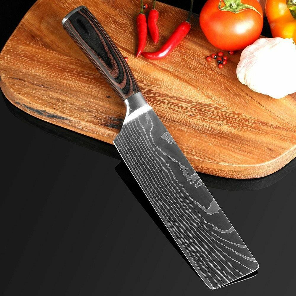 Knife Kitchen Set Chef Japanese Damascus Knives Cleaver
