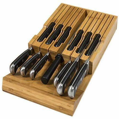 drawer bamboo knife block holds