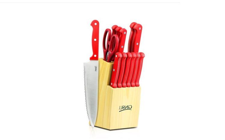 Ginsu Essential Stainless Steel Serrated knife Block Set, 14