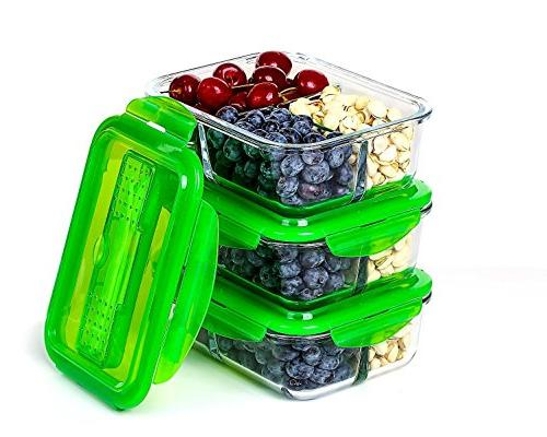 glass meal prep container set