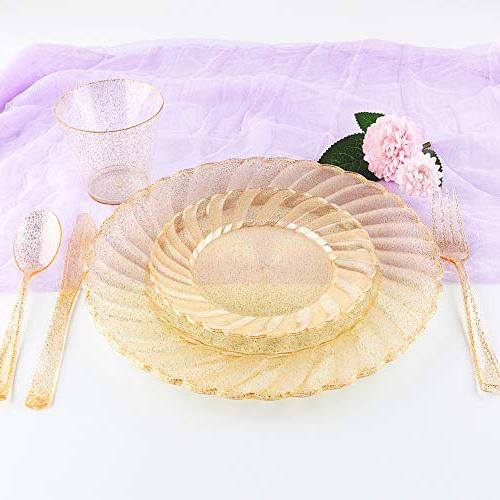 WDF 150pcs Gold Plastic Plates with Disposable Silverware&Gold Design include 25 Dinner Plates,25 Knives, Plastic