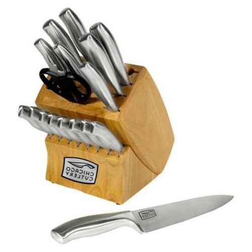 Chicago 18 piece Insignia Stainless Steel Knife Block Set
