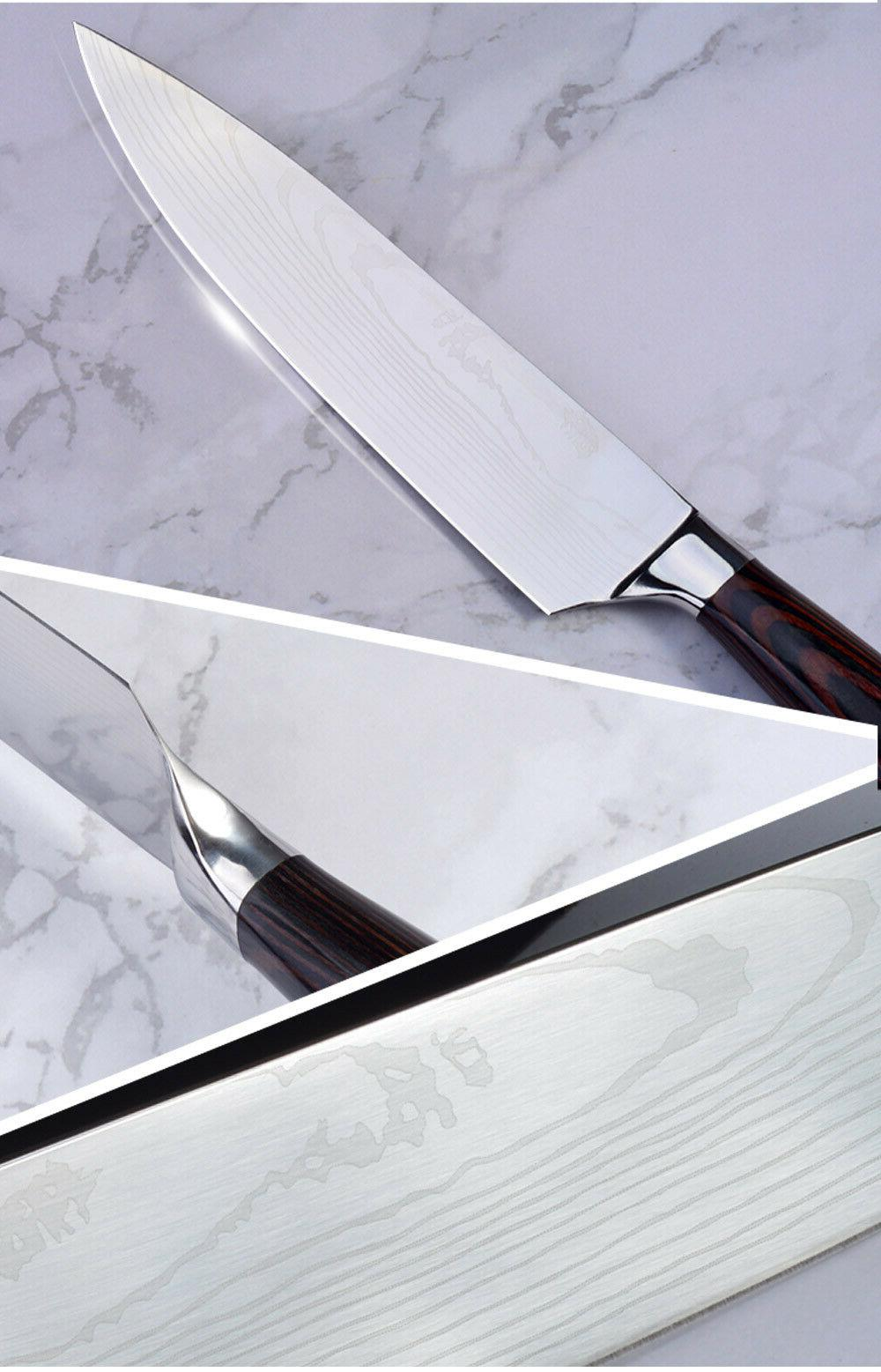 Japanese Stainless Kitchen Knives Set 7 Damascus