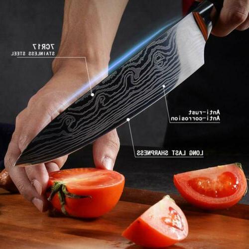 Japanese Steel Knives Set Damascus Chef