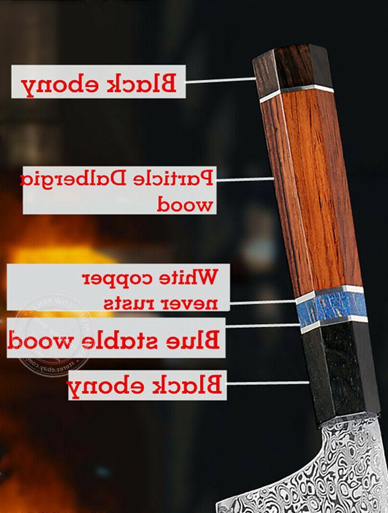 Japanese Damascus Chef Knife Knives Octagonal Wood