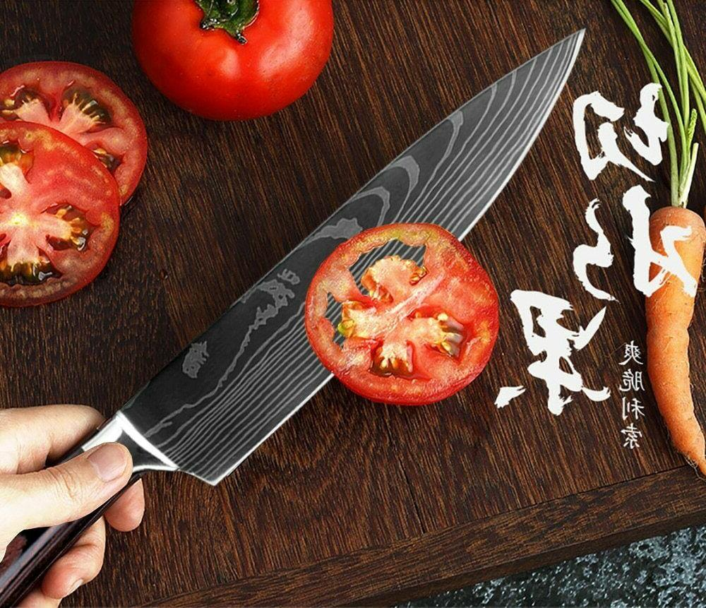 Japanese Santoku Kitchen Laser pattern chef knife Sharp