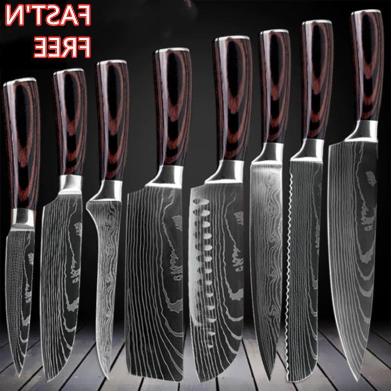 kitchen chef knives set japanese damascus pattern