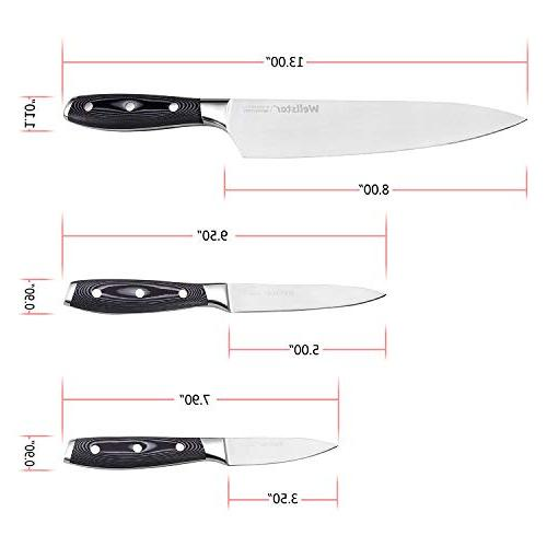 Kitchen German Forged with Chef Utility Well Balanced Set for Cutting Dicing -