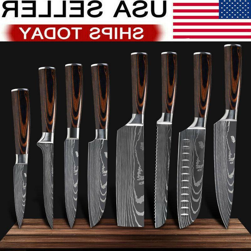 kitchen knives set stainless steel damascus pattern