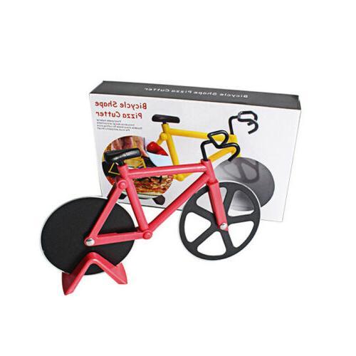 Kitchen Stainless Steel Pizza Cutter Bike Wheel Slicer Roller