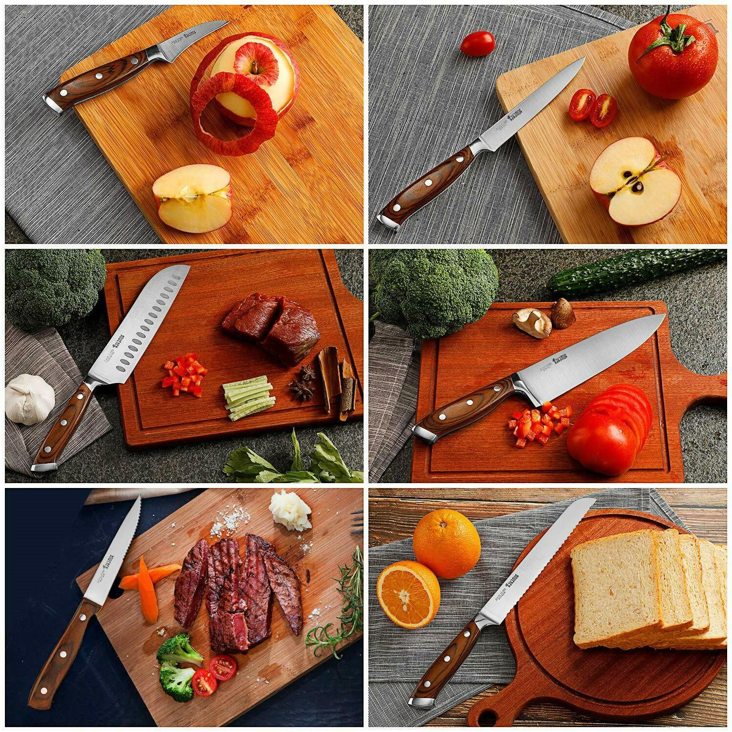 15-Piece Chef Knife With Wooden sharpener
