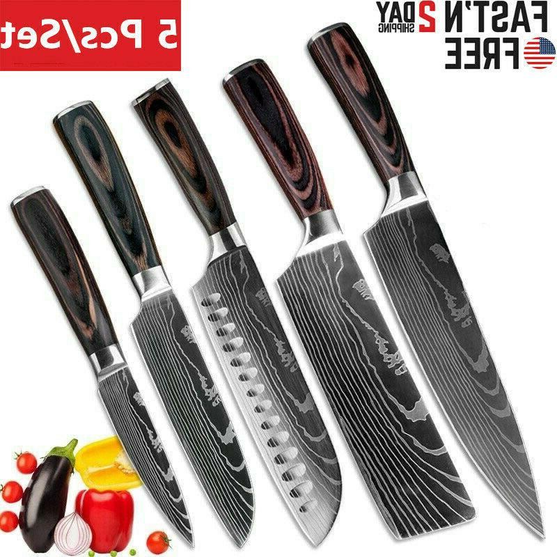 Chef Kitchen Knives Value Set Japanese Damascus Pattern Stai