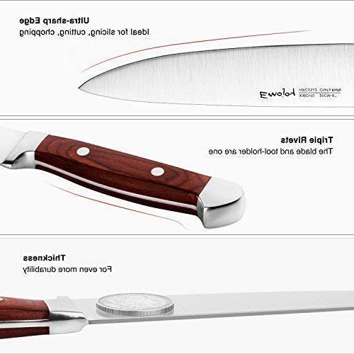 Knife 6 Piece Kitchen with Block Wooden, Set, German Stainless Steel, Emojoy