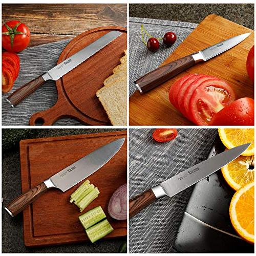Knife Set with Wooden Block Germany High Carbon Steel Knife Block Set,Chef Knife Knife Set by