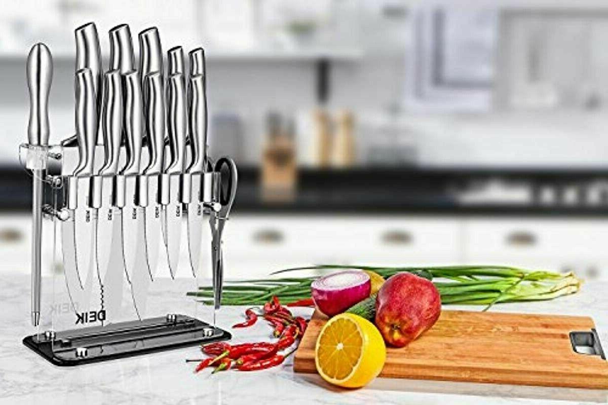 DEIK Set Carbon Stainless Steel Knife 14 PCS, Super Sharp
