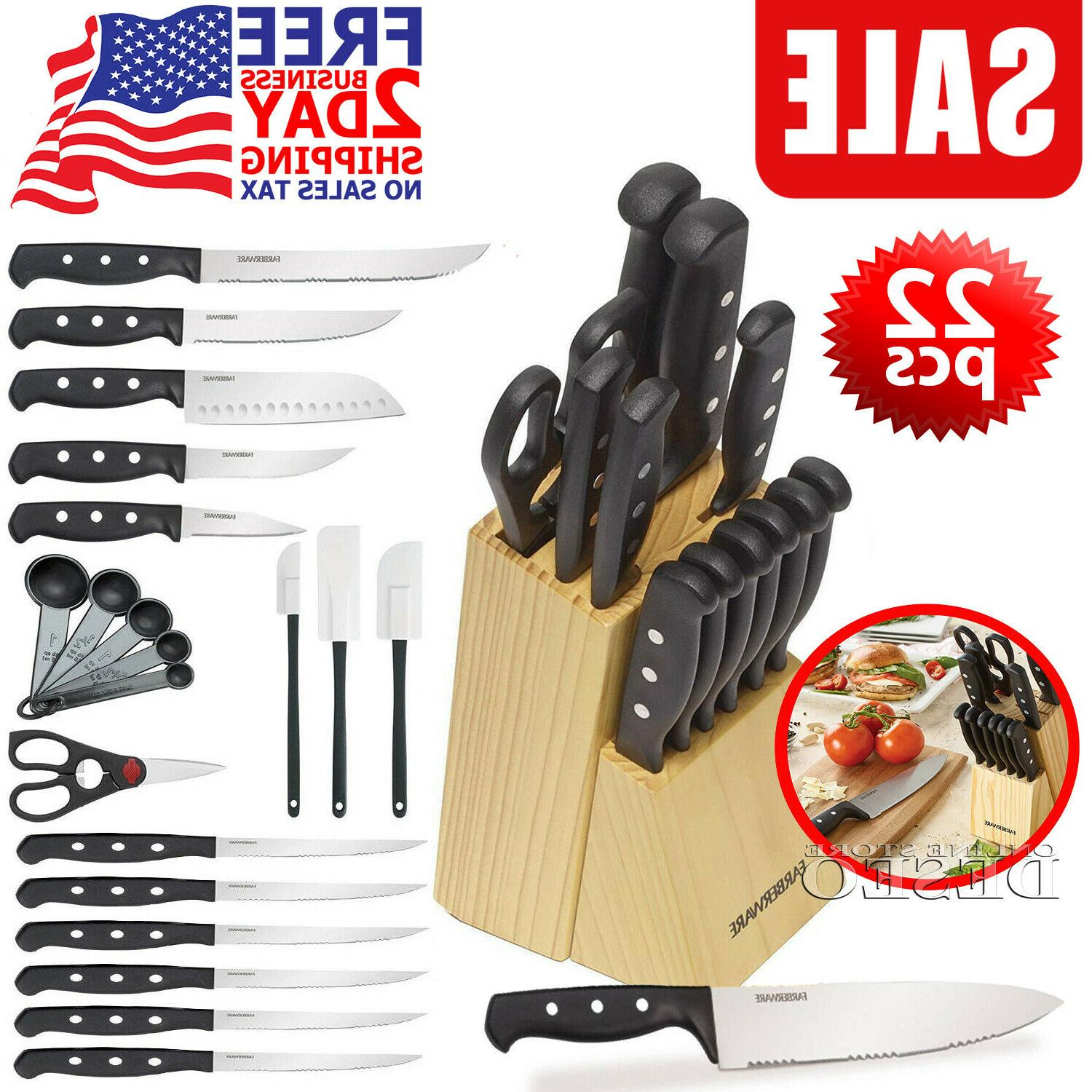 Knife Block Set Kitchen Knives Stainless Steel Chef Steak Cu