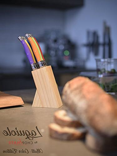 - Steak Knife Set Vibrant Color Edition - 6 Piece + Bonus Wood Display Block