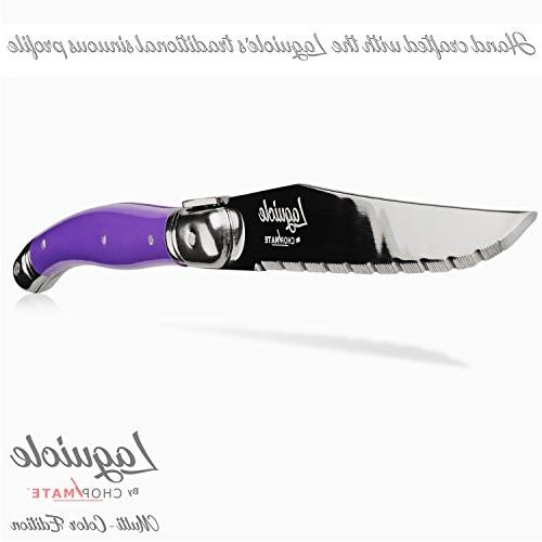 Chopmate - Laguiole Style - Stainless Steel Premium Steak Knife Vibrant Color - Piece + Bonus