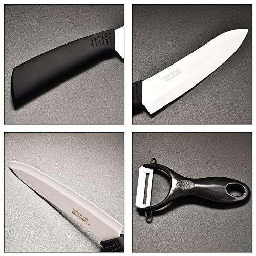 Larcolais 3 4 5 inch Knife Covers Black Handle White for Paring Vegetable Utility