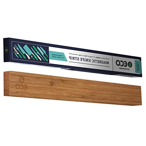 magnetic knife strip bamboo wood
