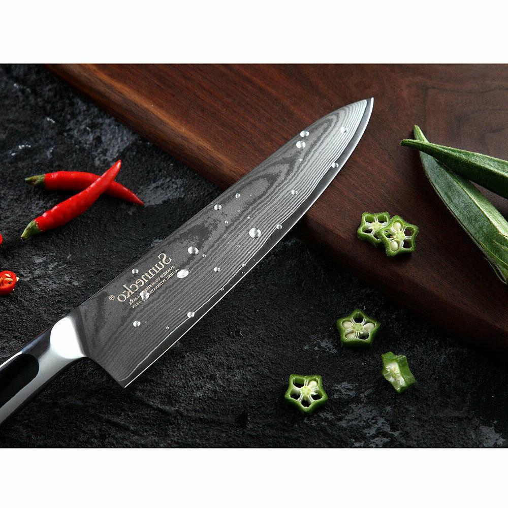 Multi-layer damascus chef G10 handle 8 inch cut