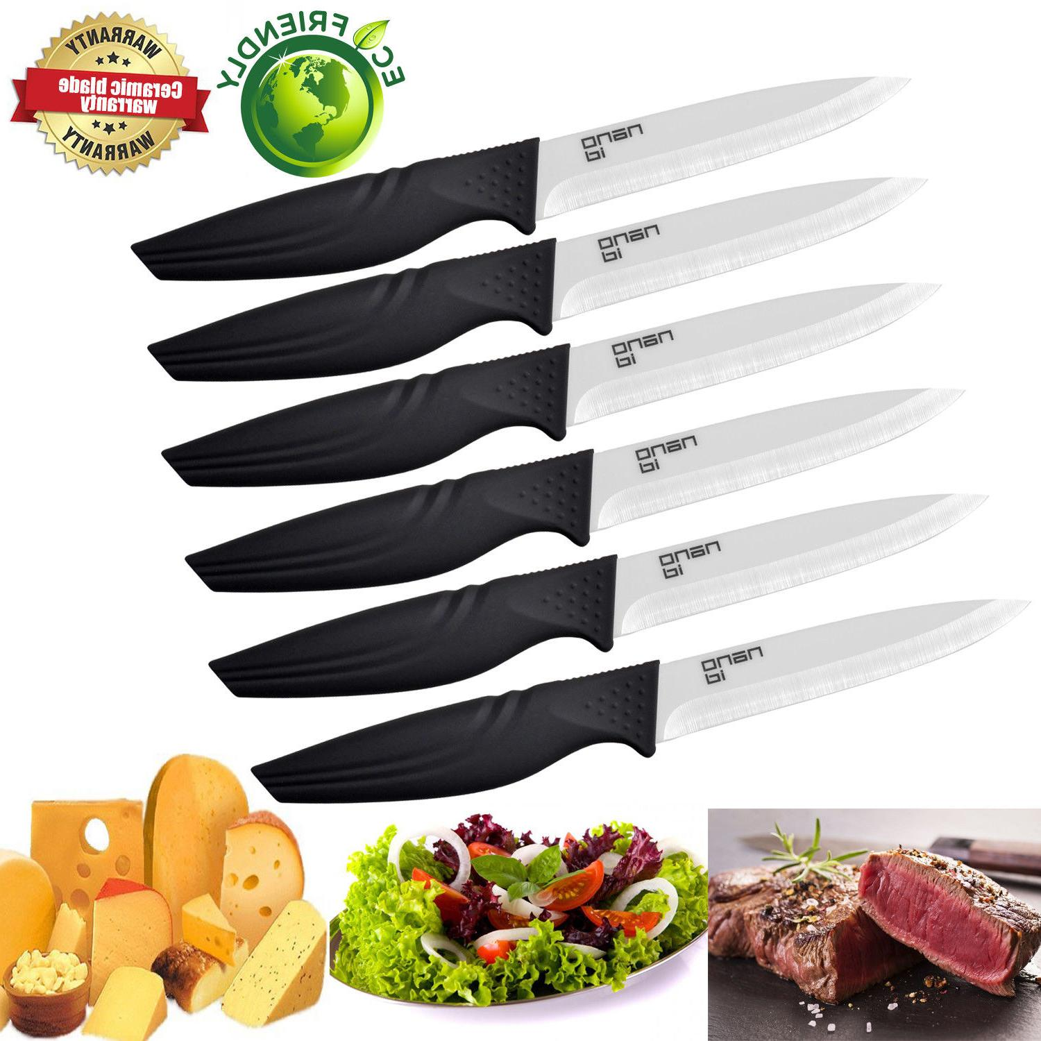 Steak Knives Set Extremely Sharp Kitchen Ceramic Knife NANOI