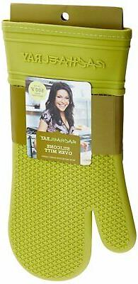 NEW Rachael Ray Green Silicone Oven Mitt With Protective Fab