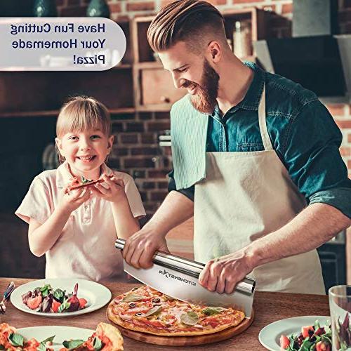 "16"" Cutter Kitchenstar | Sharp Steel Slicer Rocker Cover Chop Slices Perfect Dishwasher Pizza Accessories"