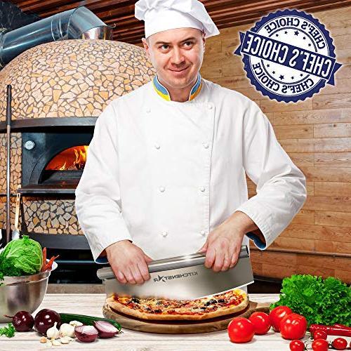 "16"" Pizza Cutter Kitchenstar Steel Knife - Rocker Cover | Chop Slices Perfect Dishwasher - Premium"