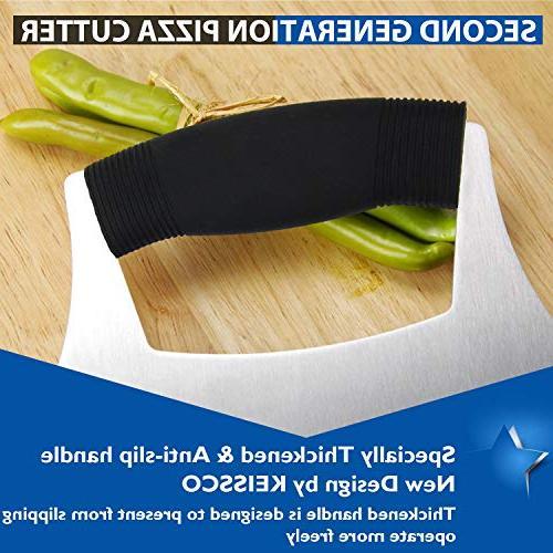 Pizza Ulu knife Razor Sharp Rocker Slicer Cutter Mincing Mezzaluna Salad Chopper with Anti-Slip