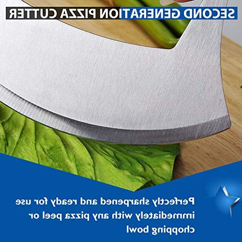 Pizza Stainless Steel Ulu Rocker Slicer Cutter Mincing Mezzaluna Salad Chopper Upgraded Anti-Slip