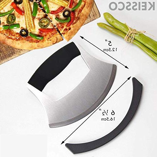 Pizza Cutter Steel Ulu knife Razor Chopper Upgraded Anti-Slip Handle