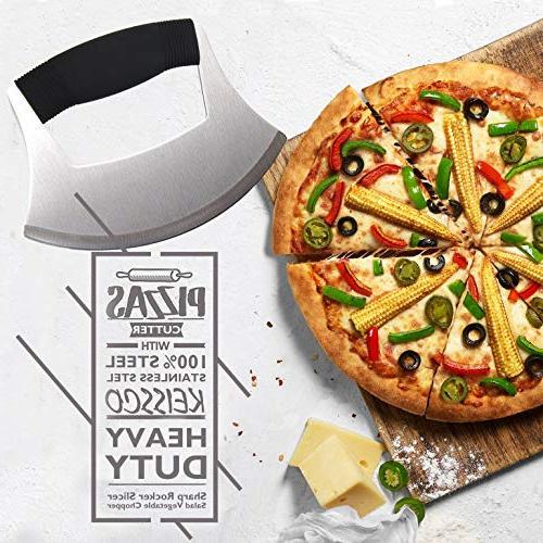 Pizza Cutter Stainless Ulu Sharp Rocker Slicer Cutter Mincing Mezzaluna Knife Salad Chopper with Upgraded Ergonomic Anti-Slip