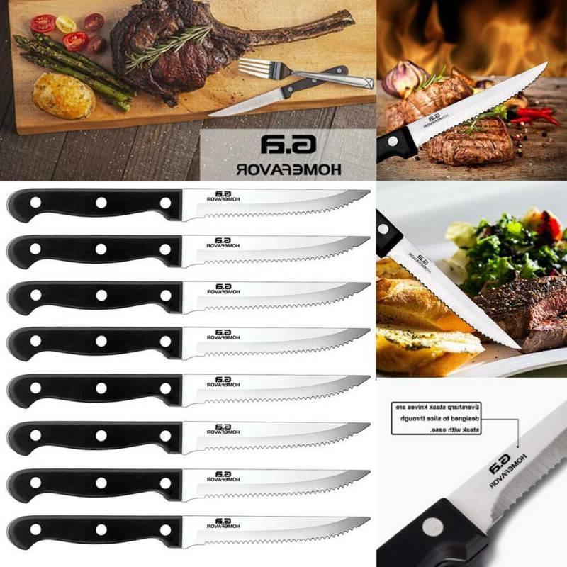 professional set of 8 stainless steel steak