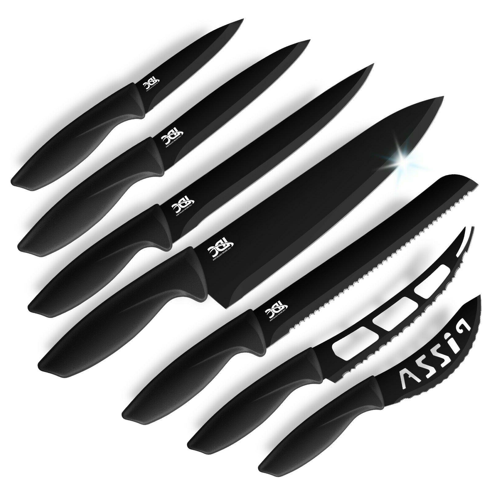 professional stainless steel kitchen knife set 7pc