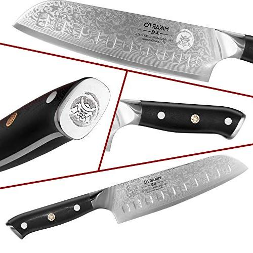 Santoku 7 inch, - Stainless Knife Tsunami Rose Finish - Ultra High Carbon - Quality, Precision Cutting