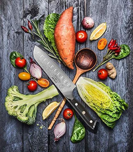 Santoku Chef 7 Professional - Damascus Knife Tsunami Finish - High - Quality, All Purpose, Precision Cutting