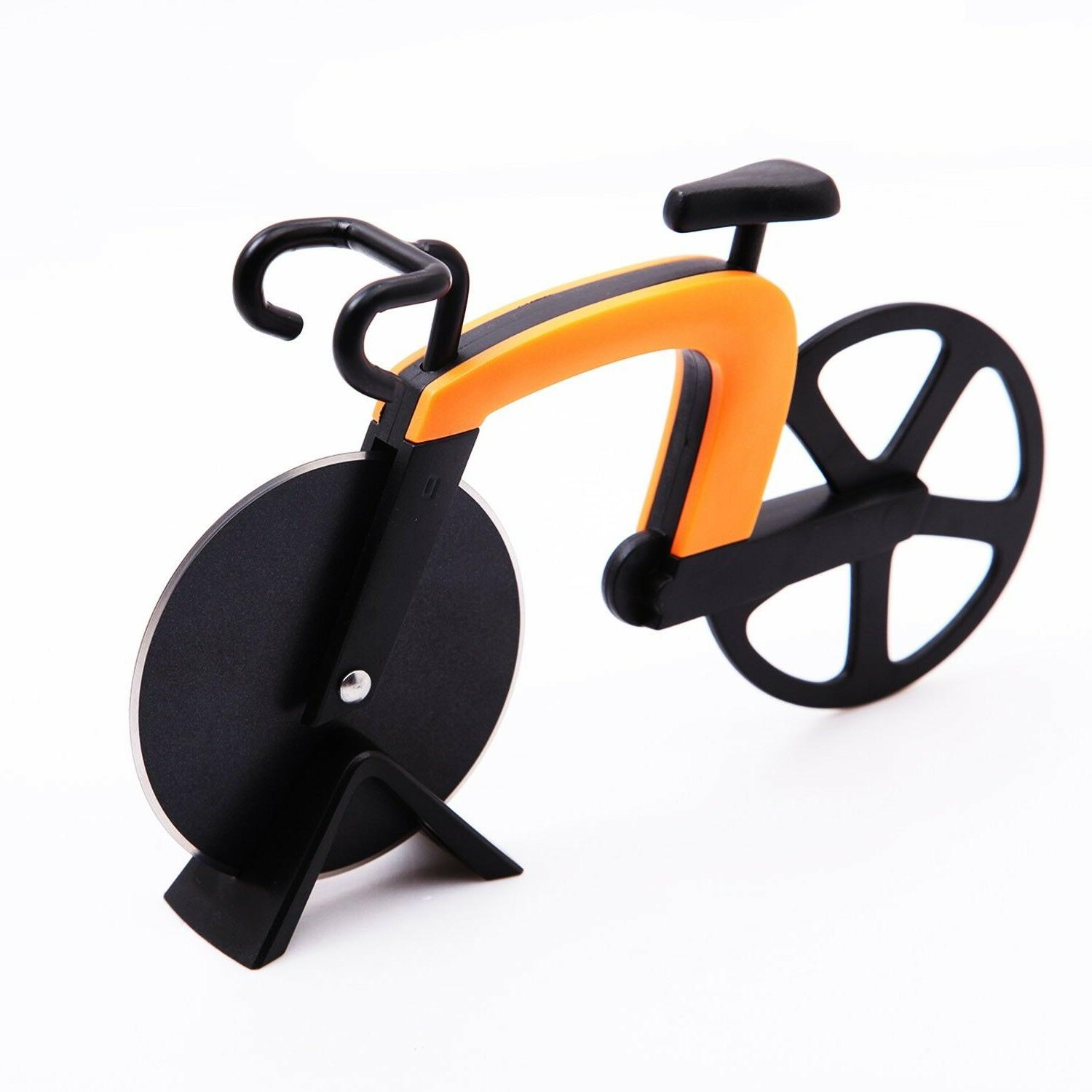 Stainless Steel Bicycle Pizza Cutter Dual Bike Knife Slicer Art