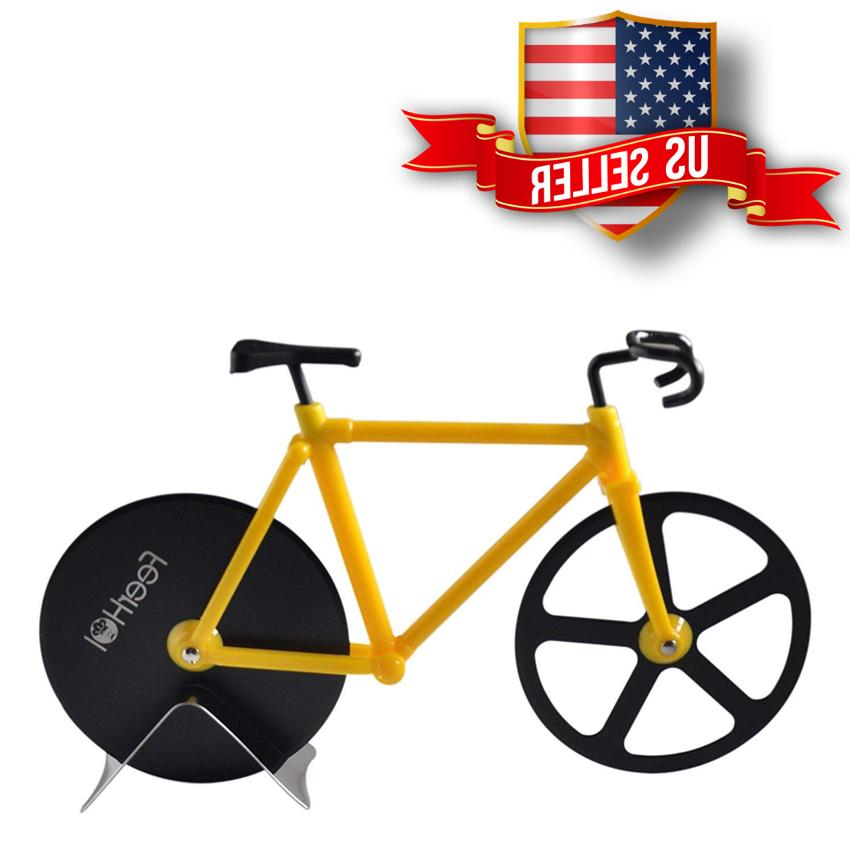 Stainless Bicycle Pizza Cutter Dual Knife Slicer