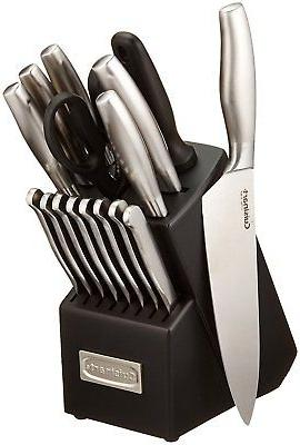 steel stainless set block knife piece kitchen