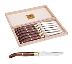 Claude Dozorme Laguiole Rosewood Steak Knives Brass Bolster
