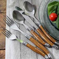 20 Piece Laguiole Wood Grain Flatware Set by French Home