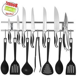 18 Inch Stainless Steel Knife & Utensil Holder With 7 Hooks
