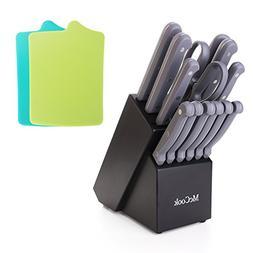 McCook MC32B 16 Pieces FDA Certified Knife Block Set with Al